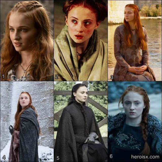 Sansa Stark Temporadas 1 a 6 Game of Thrones antes e depois