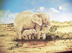 Wandmalerei in einem Montessori-Ausbildungskindergarten in Bukoba