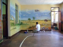 Tansania Wandmalerei der Nationaltiere