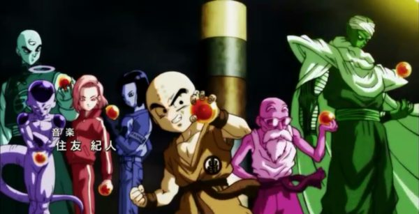 Elimination order of Universe 7 holding dragon balls opening theme song of Dragon Ball Super