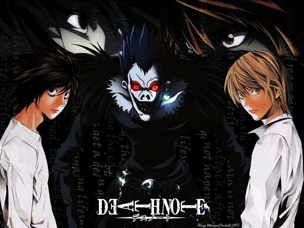 Ryuk Light Yagami and L in Death Note anime