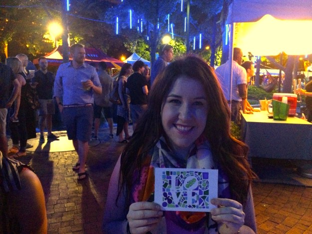 Emily Tharp with her love note to Philadelphia at Spruce Street Harbor Park // Her Philly