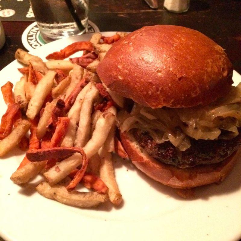 Good Dog Burger and Sweet Potato Fries