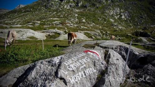 Touristenmotiv auf dem Gotthard.