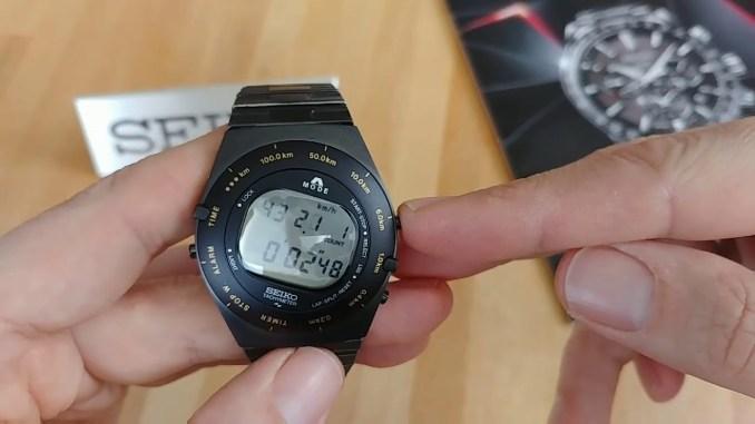 "Seiko SBJG003 ""Ayrton Senna's Speedmaster-Reissue"" Giugiaro Design Digital-Chronograph deutsch"