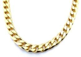 Panzerkette 750er Gold Doublé 13mm breit, 60cm lang, Halskette Goldkette Herren-Kette Damen Geschenk Schmuck ab Fabrik Italien tendenze GGY13-60 -