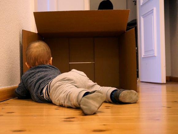 Wie man ein Baby fängt: Pappkarton aufstellen, kurz abwarten, Baby aus Pappkarton sammeln.
