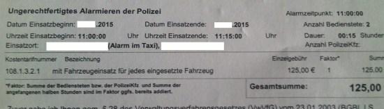Rechnung der Polizei für einen Fehlalarm, Beispiel