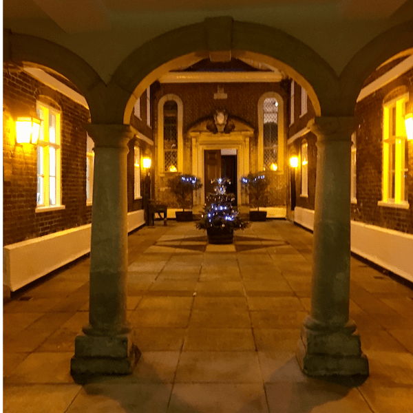 The Trinity Almshouse Courtyard with Christmas tree