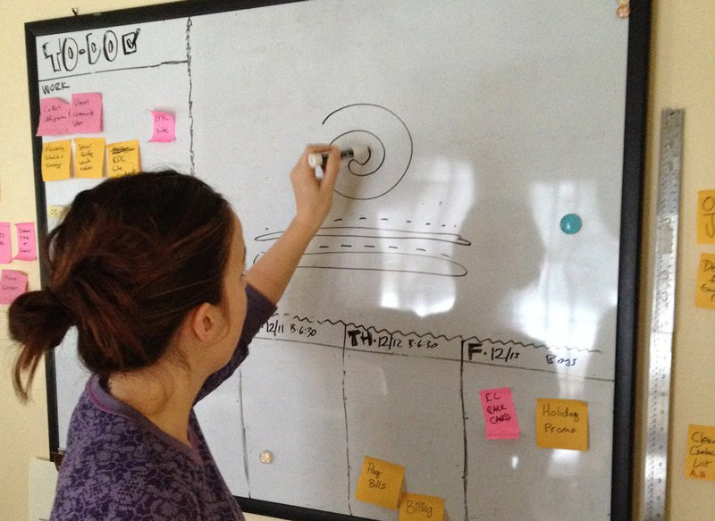 Design thinking is only one way to use the whiteboard. Here Laurel plans the perfect cookie.
