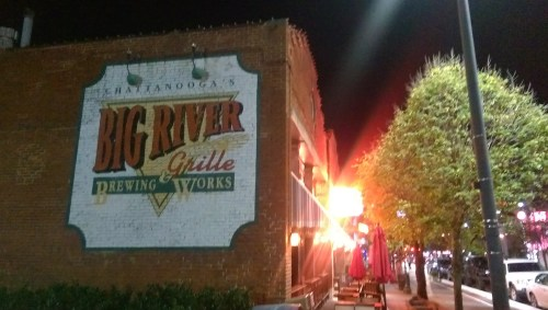 John, Elizabeth, and Evan headed over to Big River Grille for dinner...