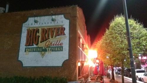 John, Elizabeth, and Evan headed over to Big River Grille for dinner...