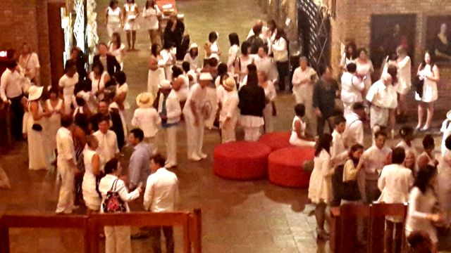 All the hair stylist gathering in the foyer before the show.