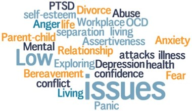 Counselling wordcloud of issues and challenges