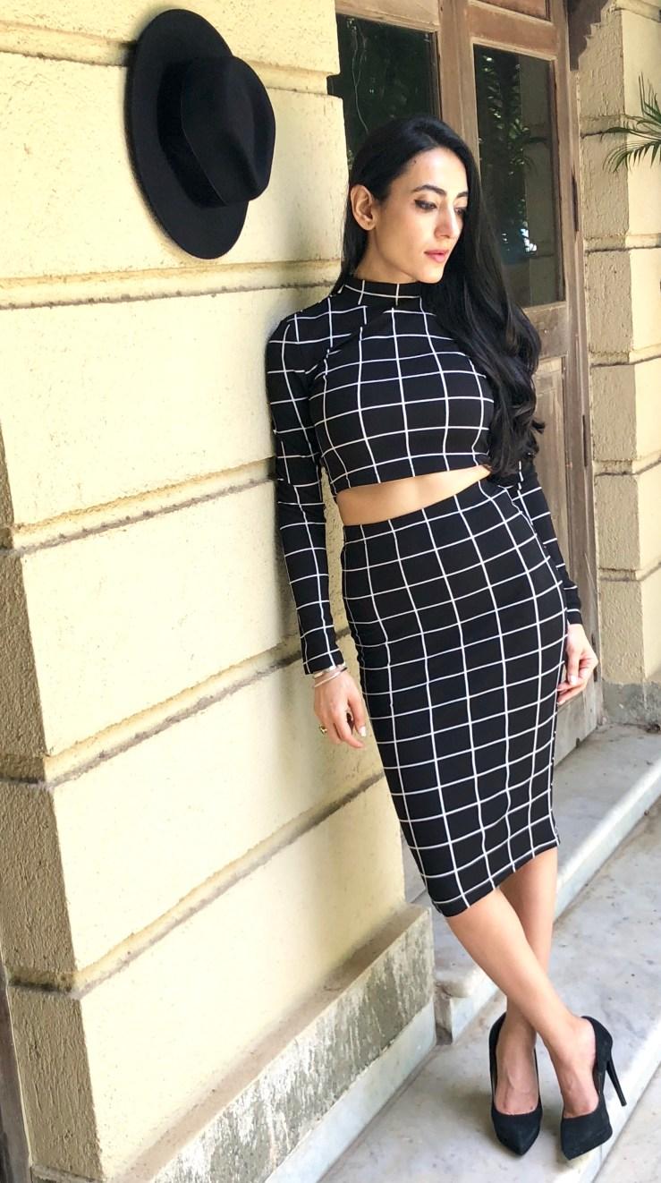 Windowpane Check Two Piece Outfit - Rupika Chopra