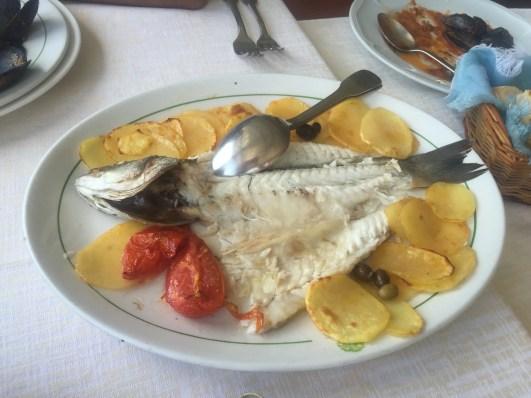 Baked fish and potatoes