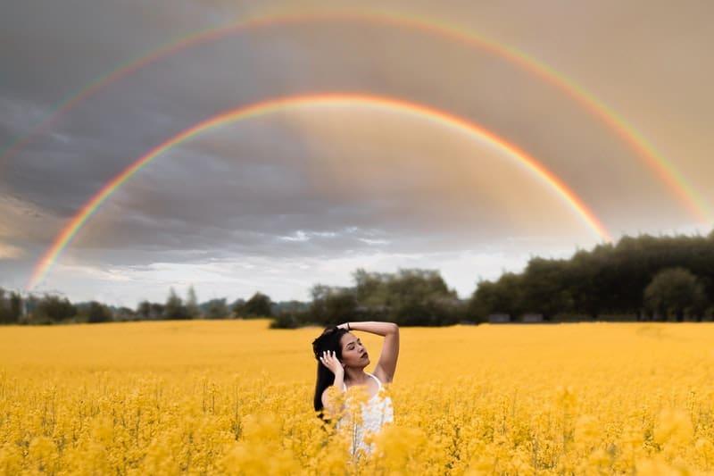 woman in the crop field