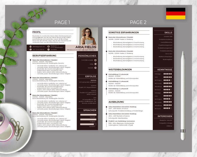 CV Template Aria Fields
