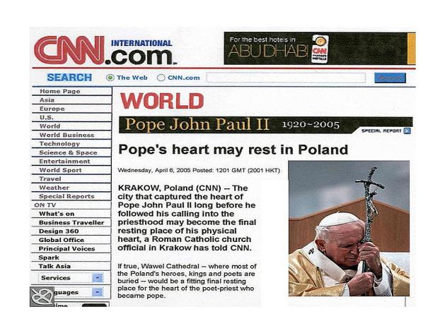 Pope's heart CNN headline