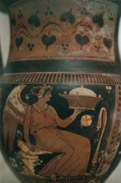Herzförmige Efeu- und Weinranken  auf Vasenbildern