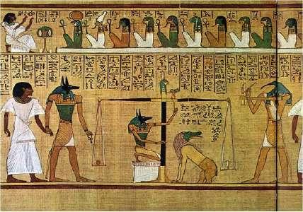 Herzwaage beim Totengericht in der ägyptischen Antike (Papyrus des Ani, Hunefer and Anhai, British Museum, London)
