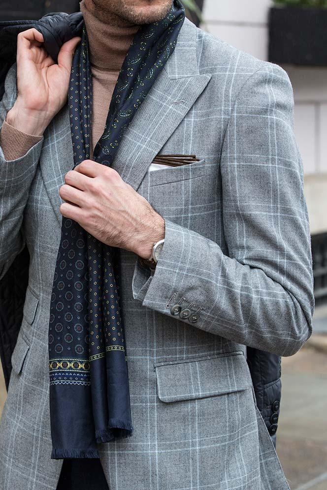 Plaid Blazer Tan Turtleneck - He Spoke Style