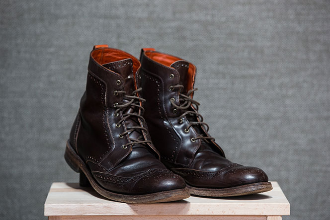 Best Fall Boots for Men Dark Brown Leather Wingtip Dress Boot - He Spoke Style