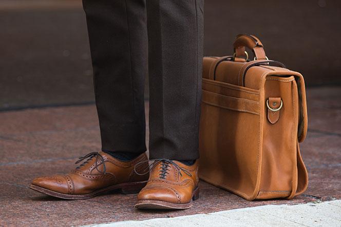 Mens Brown 3-Piece Suit Allen Edmonds Strand Brown Shoes - He Spoke Style