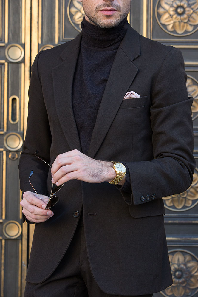 Dark Brown Suit with Layered Turtleneck Sweater - He Spoke Style