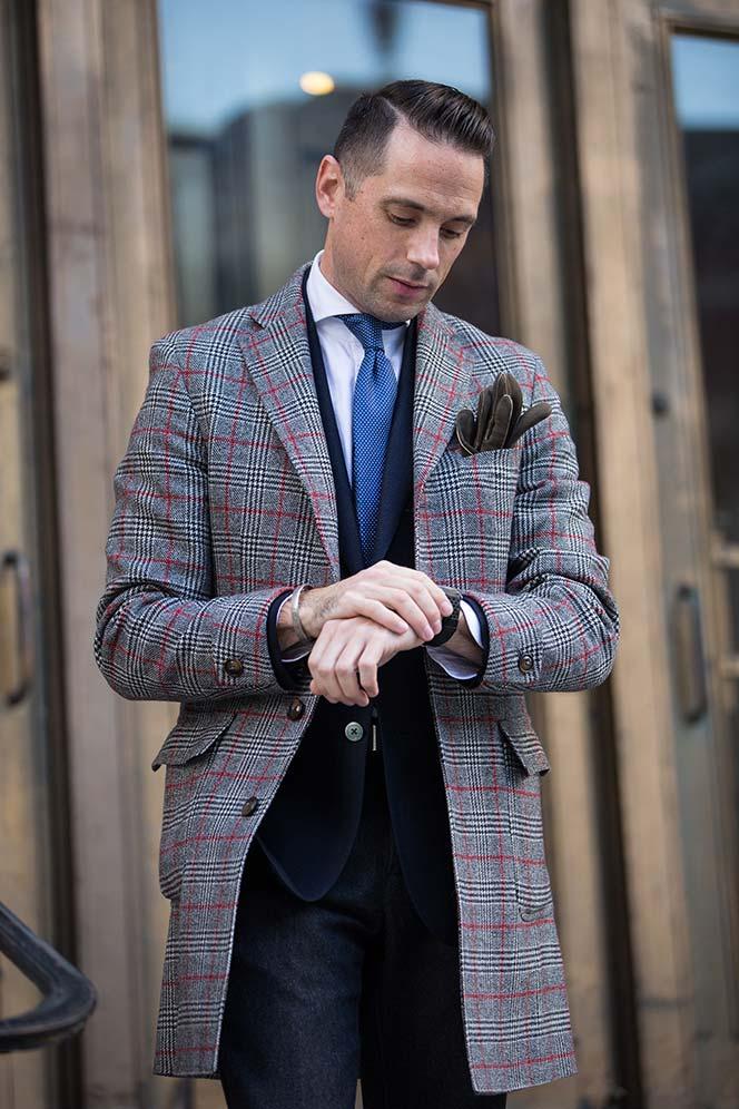 mens-outfit-ideas-wool-overcoat-plaid-blue-blazer-grey-pants