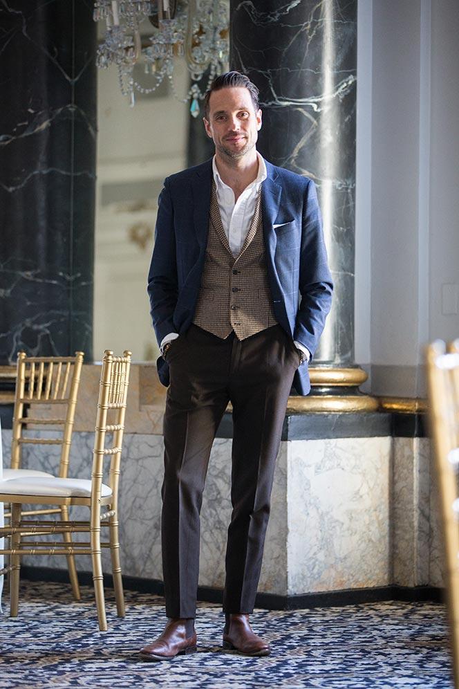 houndstooth suit vest waistocat