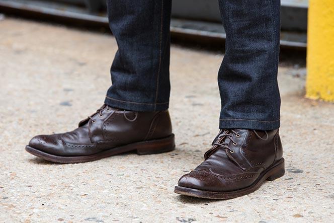 allen edmonds dalton wingtip dress boots with jeans