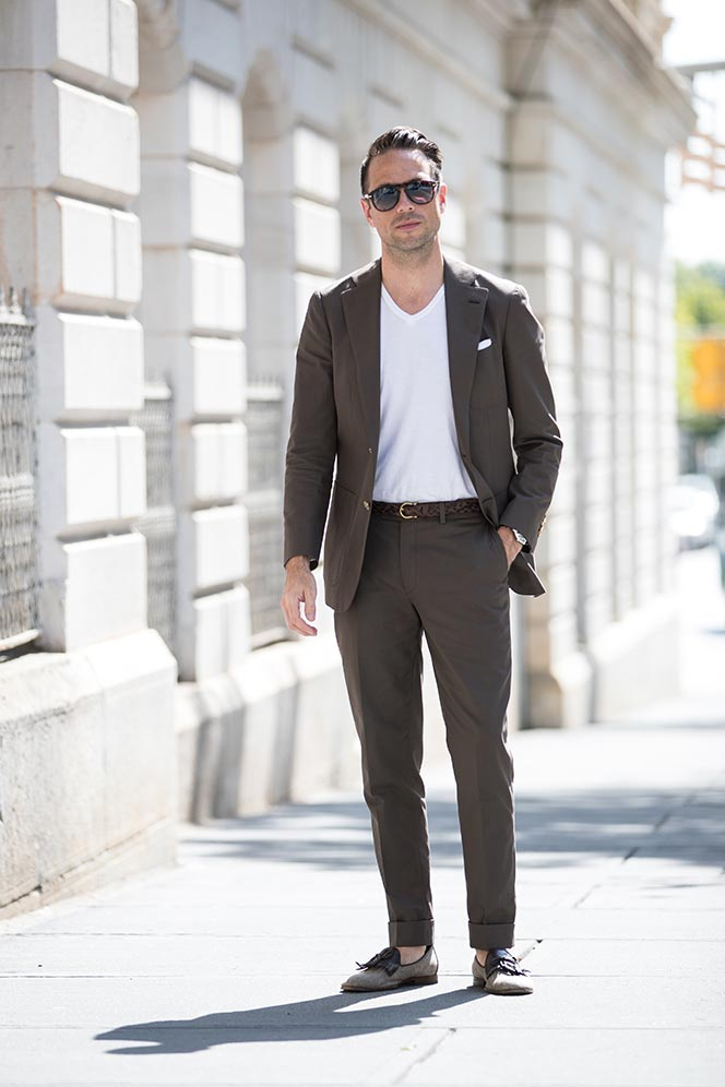 wearing suit with t-shirt