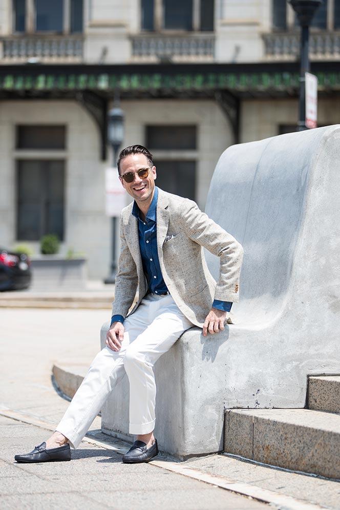 light-tan-linen-blazer-blue-denim-shirt-white-dress-pants-tods-driving-loafers-mens-summer-outfit-ideas-1