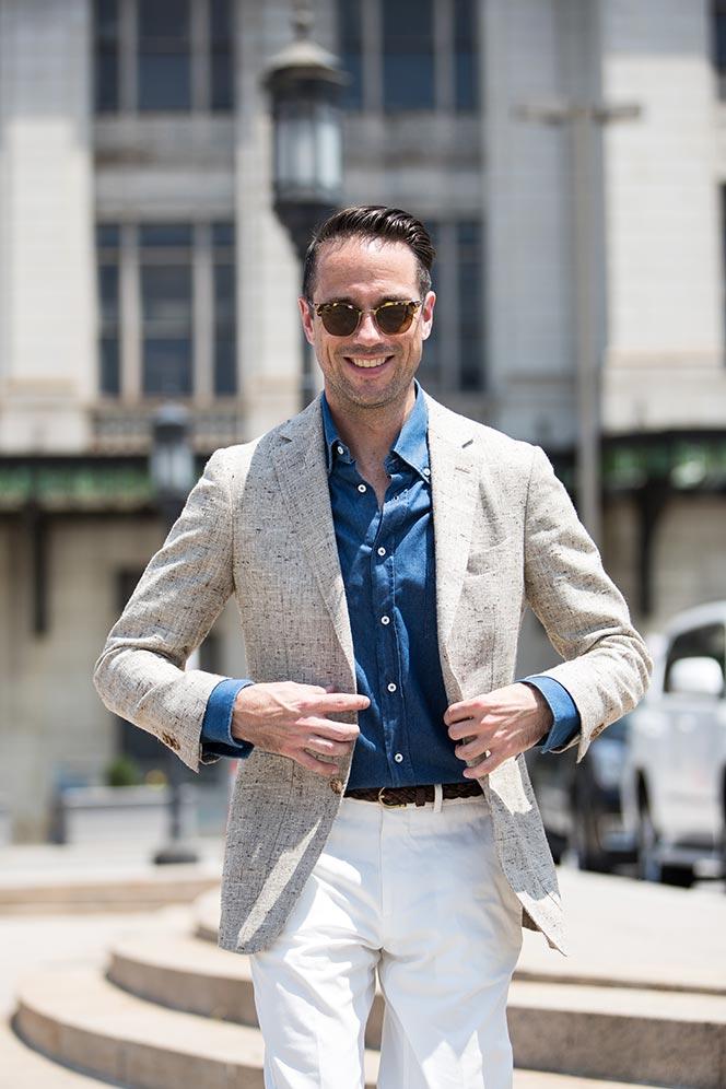 light-tan-linen-blazer-blue-denim-shirt-white-dress-pants-tods-driving-loafers-mens-summer-outfit-ideas-6