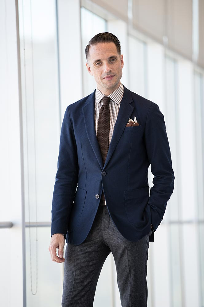 navy-blazer-brown-gingham-shirt-knit-tie-grey-pants-fall-business-casual-outfit-ideas-for-men-2016-9