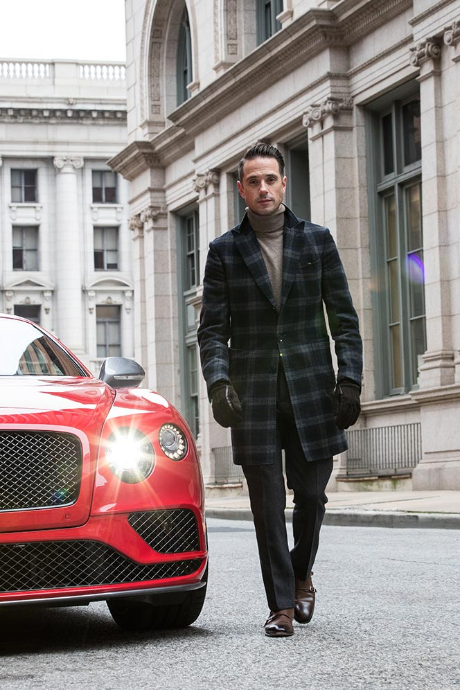 walking-in-front-of-2017-bentley-continental-gt-speed-black-edition-with-cool-headlight-flare-lens-st-james-red-color