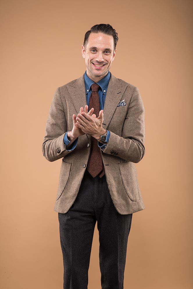 business-casual-wool-outfit-mens-winter-brown-blazer-denim-shirt-grey-pants-rust-colored-tie-chocolate-leather-loafers-3