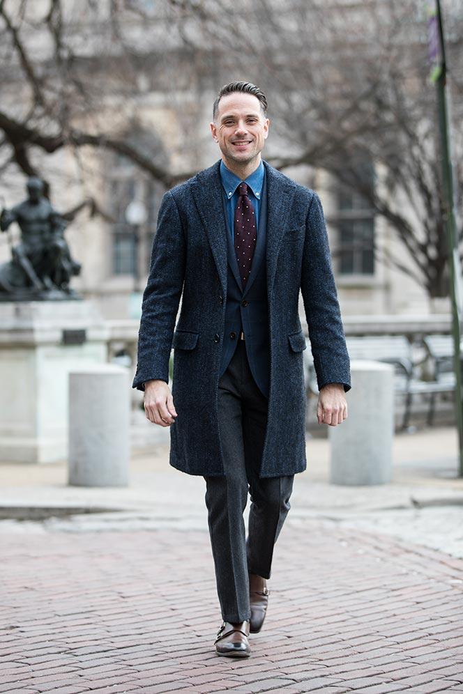 dapper-valentines-day-outfit-idea-navy-coat-blazer-denim-shirt-red-burgundy-tie-grey-pants-double-monk-strap-shoes-1