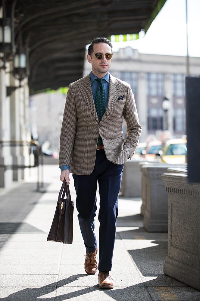 houndstooth-blazer-navy-pants-denim-cutaway-collar-shirt-green-medalion-print-tie-spring-business-casual-outfit-ideas-men-walnut-leather-shoes-allen-edmonds-strand-1