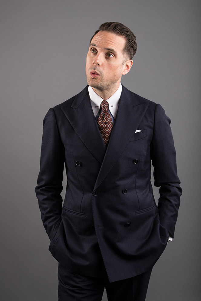 navy-double-breasted-suit-red-silk-medalion-tie-pin-collar-french-cuff-mens-business-outfit-ideas-2