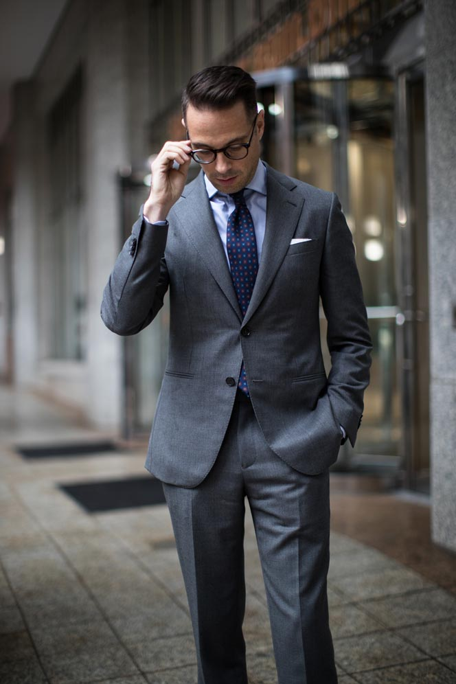 charcoal grey business suit