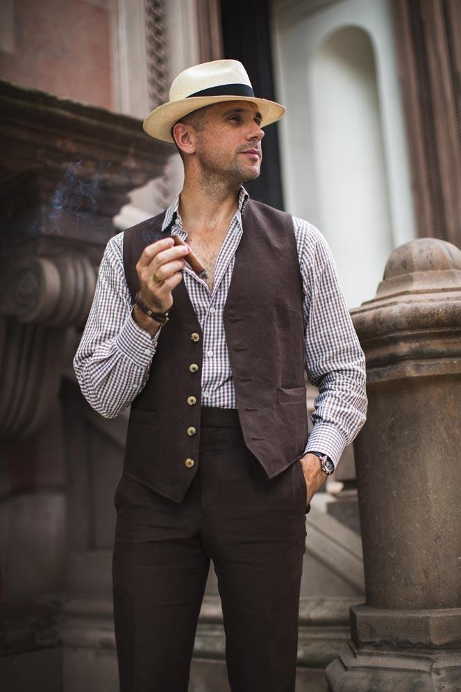 wearing vest unbuttoned