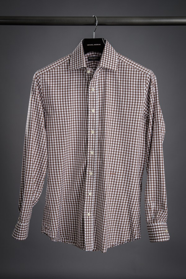 Brown Gingham Dress Shirt
