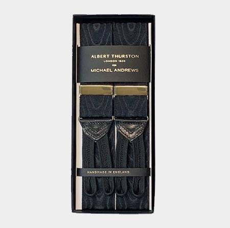 Black Moiré Suspenders w/ Gold Hardware