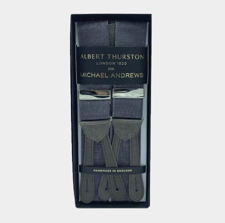 Dark Grey Moiré Suspenders