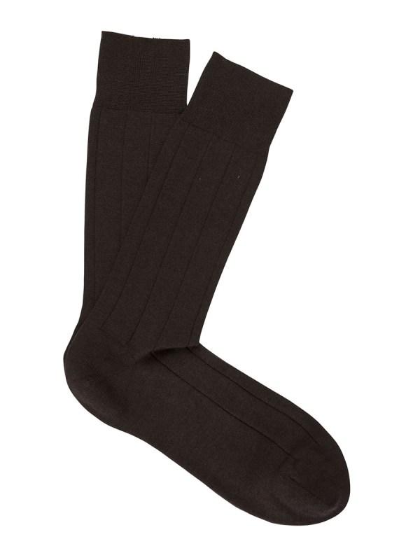 Light Cashmere Ribbed Dress Socks Dark Brown