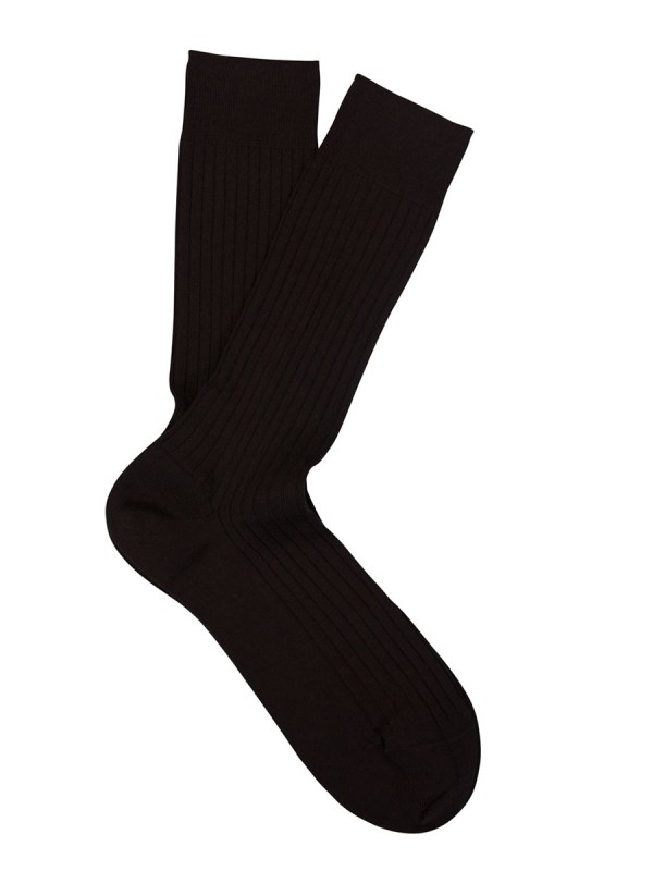 Extrafine Merino Ribbed Dress Socks Chocolate