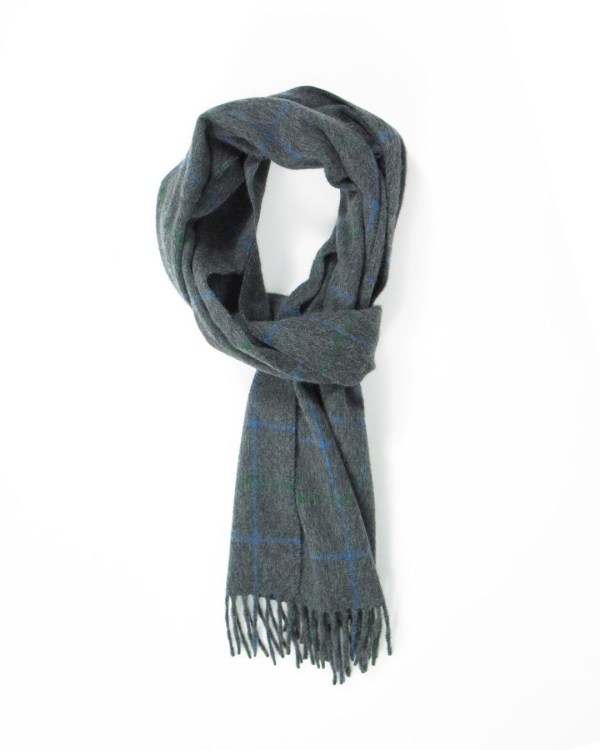 Mid Grey Sapphire Mid Green Tattersall Cashmere Scarf
