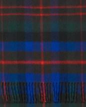 Black Cobalt Red Modern Tartan Cashmere Scarf